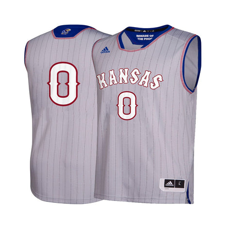 Kansas Jayhawks  NCAA Adidas Men's Grey #0 NCAA Pride Basketball Jersey