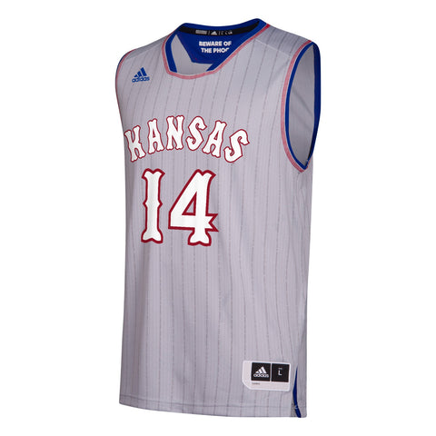 Kansas Jayhawks  NCAA Adidas Men's Grey #14 NCAA Pride Basketball Jersey
