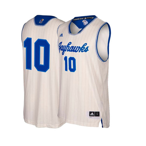 Kansas Jayhawks  NCAA Adidas Men's Cream #10 NCAA Pride Basketball Jersey