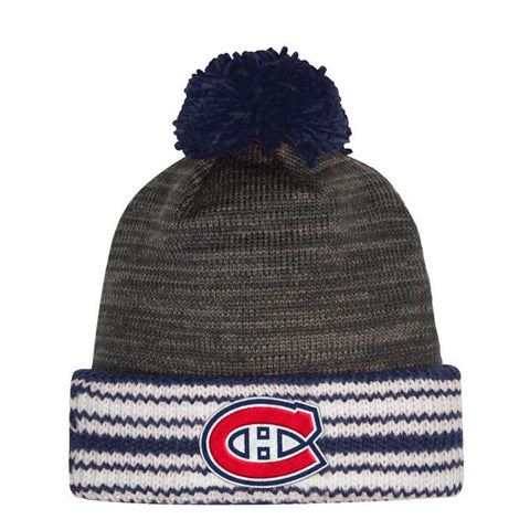 Montreal Canadiens NHL Adidas Men's Embroidered Team Logo Grey Cuffed Pom Knit