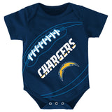 "Los Angeles Chargers NFL Outerstuff Newborn Navy Blue ""Fanatic"" Football Creeper"