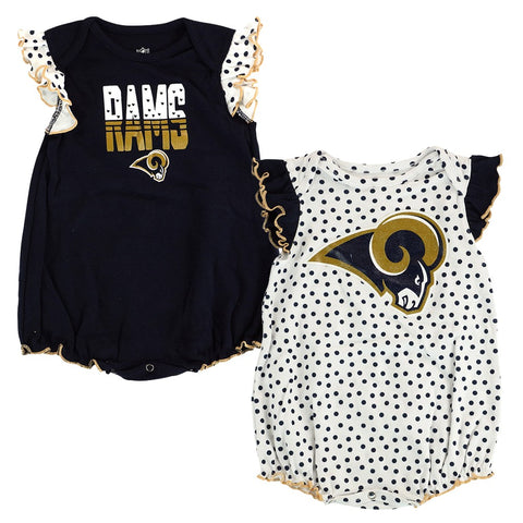 "Los Angeles Rams NFL Newborn Navy/White ""Polka Fan"" 2 Piece Creeper Set"
