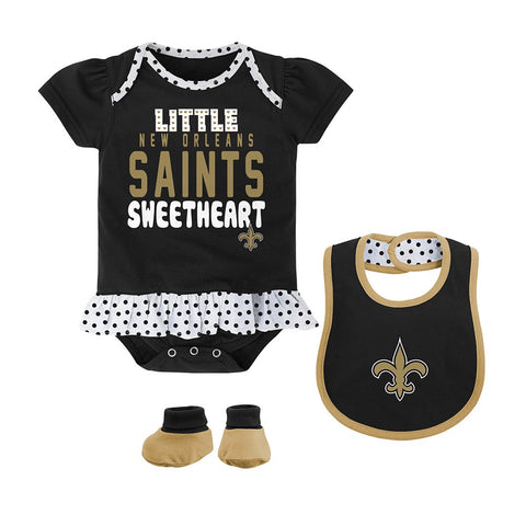 "New Orleans Saints NFL Newborn Black ""Little Sweet"" Creeper, Bib & Bootie Set"