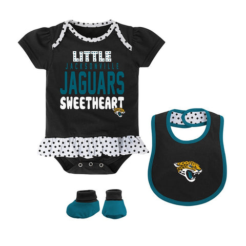 "Jacksonville Jaguars NFL Newborn Black ""Little Sweet"" Creeper, Bib & Bootie Set"