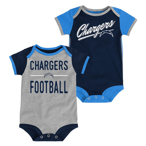 "Los Angeles Chargers NFL Newborn Navy/Grey ""Descendant"" 2 Piece Creeper Set"