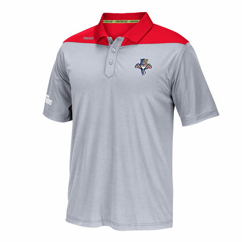 Florida Panthers NHL Reebok Grey Center Ice Speedwick Performance Polo Shirt