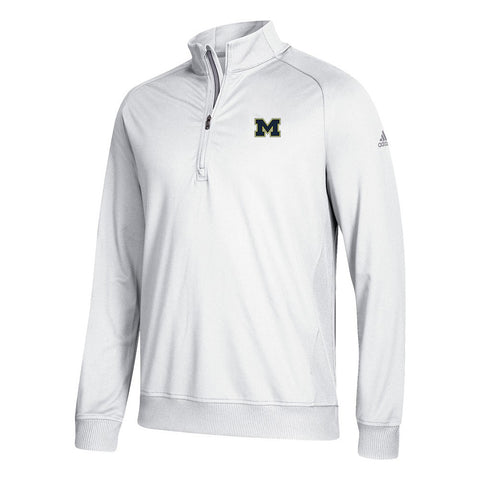 Michigan Wolverines NCAA Adidas Men's Adi Golf White 1/2 Zip Classic Club Fleece