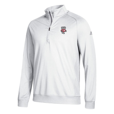 Wisconsin Badgers NCAA Adidas Men's Adi Golf White 1/2 Zip Classic Club Fleece