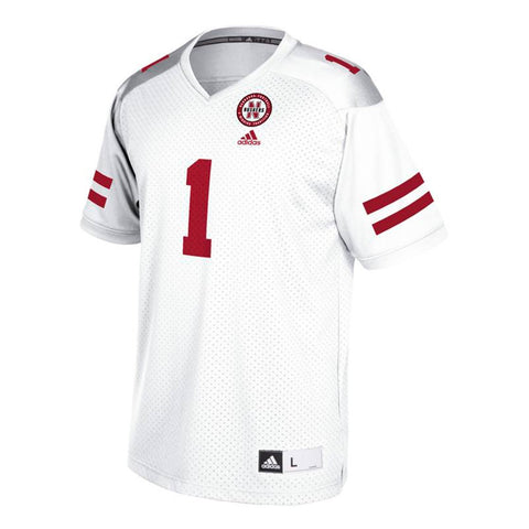 Nebraska Cornhuskers #1 NCAA Adidas Youth White Official Football Replica Jersey