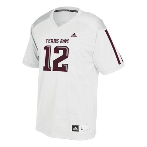 c73e53501 Texas A M Aggies  12 NCAA Adidas Youth White Official Football Replica  Jersey