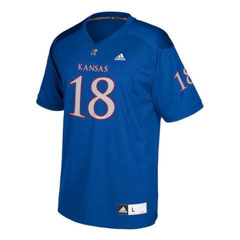 Kansas Jayhawks #18 NCAA Adidas Youth Blue Official Football Replica Jersey
