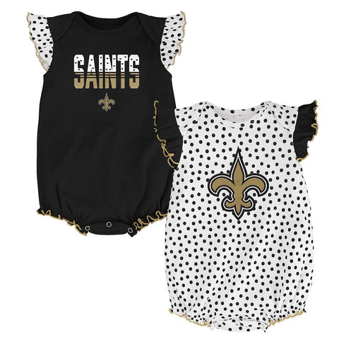 "New Orleans Saints NFL Infant Black/White ""Polka Fan"" 2 Piece Creeper Set"