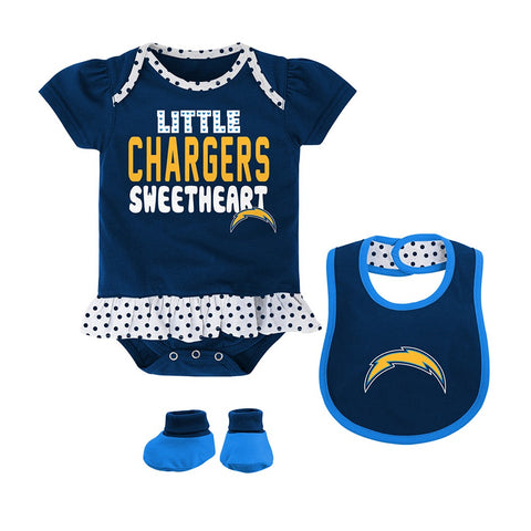 "Los Angeles Chargers NFL Infant Navy ""Little Sweet"" Creeper, Bib & Bootie Set"