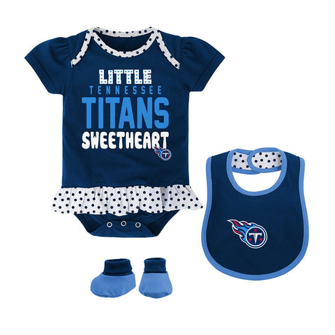 "Tennessee Titans NFL Infant Navy Blue ""Little Sweet"" Creeper, Bib & Bootie Set"