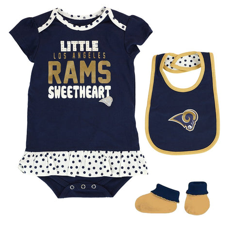 "Los Angeles Rams NFL Infant Navy Blue ""Little Sweet"" Creeper, Bib & Bootie Set"