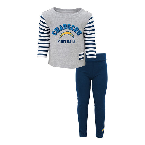 "Los Angeles Chargers  ""Little Big Girl"" Long Sleeve T-Shirt & Pants Set Infant"