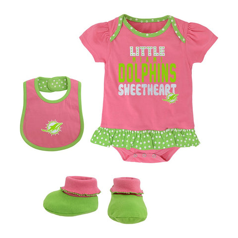 "Miami Dolphins NFL Infant Pink ""Little Sweet"" Creeper, Bib & Bootie Set"