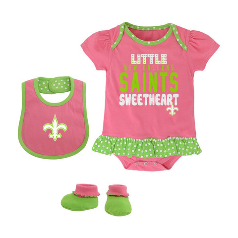 "New Orleans Saints NFL Infant Pink ""Little Sweet"" Creeper, Bib & Bootie Set"