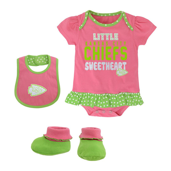 "Kansas City Chiefs NFL Infant Pink ""Little Sweet"" Creeper, Bib & Bootie Set"