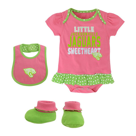 "Jacksonville Jaguars NFL Infant Pink ""Little Sweet"" Creeper, Bib & Bootie Set"