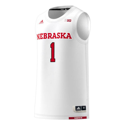 Nebraska Cornhuskers #1 NCAA Adidas White Official Swingman Basketball Jersey