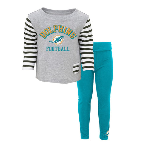 "Miami Dolphins ""Little Big Girl"" Long Sleeve T-Shirt & Pants Set Toddler (2T-4T)"