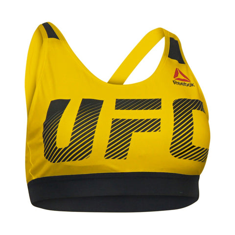 Reebok UFC Women's Blaze Yellow Fight Night Speedwick Performance Octagon Bra