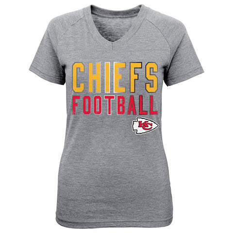 Kansas City Chiefs NFL Little Girls Grey Palladium V-Neck Triblend T-Shirt