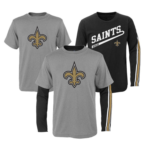 "New Orleans Saints NFL Boys Grey/Black ""Squad"" Long/Short Sleeve Shirt Set"