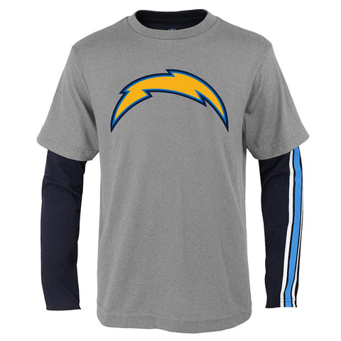 "Los Angeles Chargers NFL Boys Grey/Navy ""Squad"" Long/Short Sleeve Shirt Set"