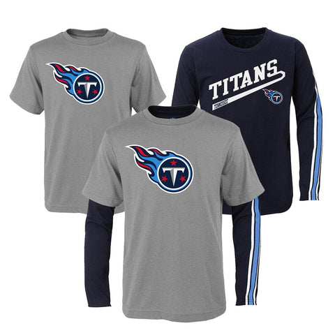 "Tennessee Titans NFL Boys Grey/Navy ""Squad"" Long/Short Sleeve Shirt Set"