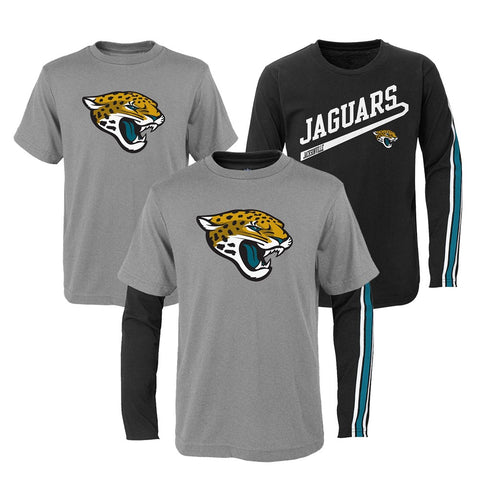 "Jacksonville Jaguars NFL Boys Grey/Black ""Squad"" Long/Short Sleeve Shirt Set"