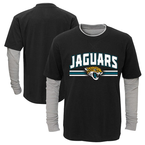 "Jacksonville Jaguars Outerstuff Boys Black ""Bleachers"" LS Faux Layer T-Shirt"