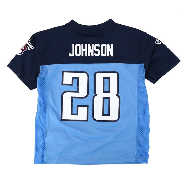 Chris Johnson NFL Tennessee Titans Mid Tier Home Blue Jersey Boys SZ (4-7)