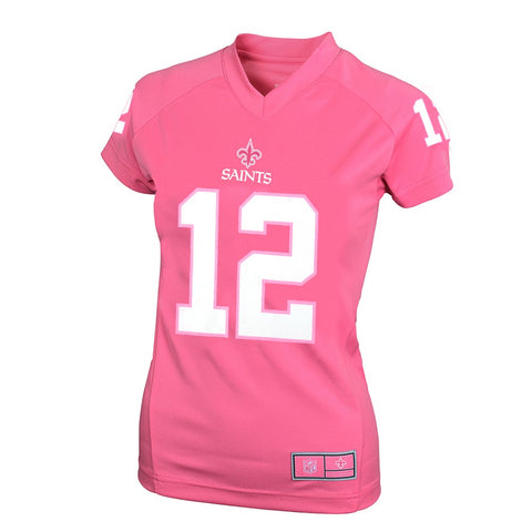 Marques Colston NFL New Orleans Saints Pink Performance Jersey Tee Girls Youth