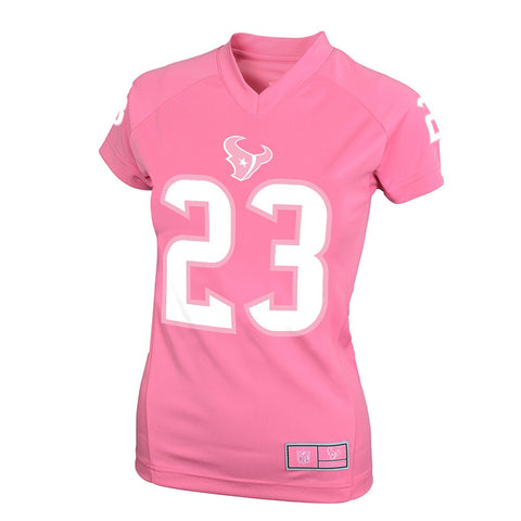 Arian Foster NFL Houston Texans Pink Fashion Bubble Gum Jersey Girls Youth S-XL