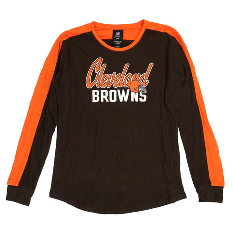 "Cleveland Browns Outerstuff NFL Girls' Brown Slouchy Pullover ""Unity"" T-Shirt"