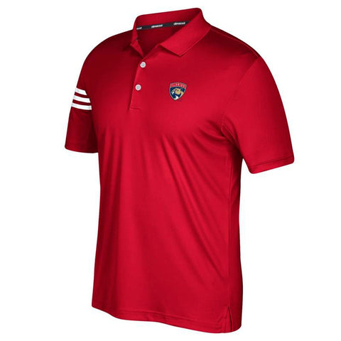 Florida Panthers NHL Adidas Men's Climacool Red 3-Stripe Golf Polo Shirt