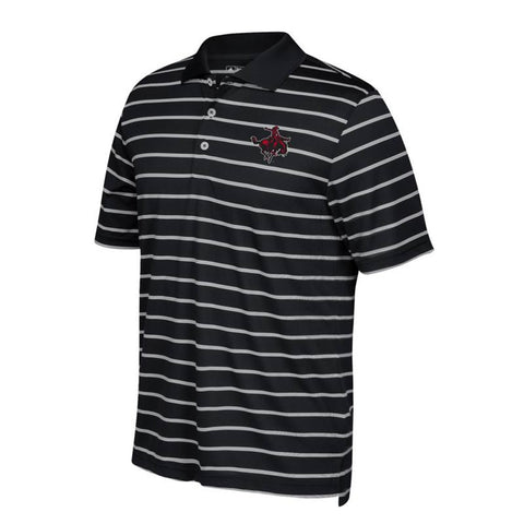 NWOSU Rangers NCAA Adidas Adi Golf Black 2-Color Climalite Stripe Polo Shirt