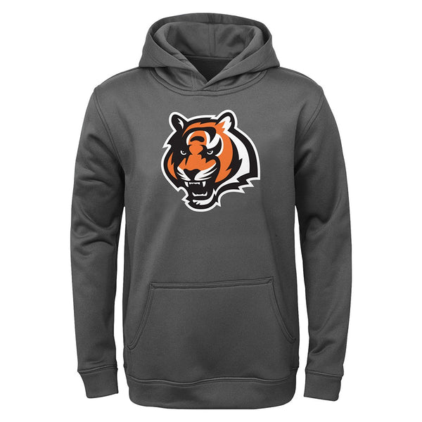 Cincinnati Bengals NFL Team Logo Performance Grey Pullover Hoodie Youth (S-XL)