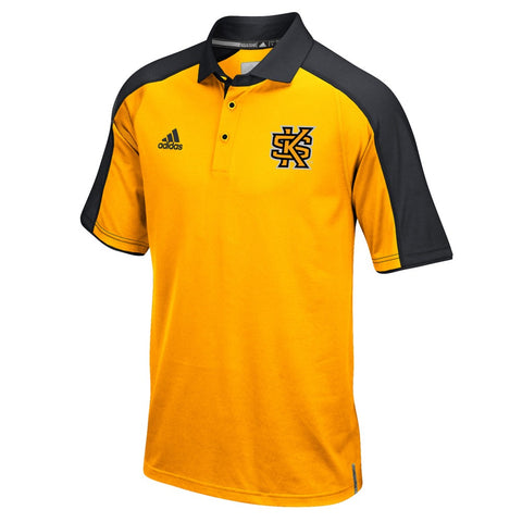Kennesaw State Owls NCAA Adidas Climalite Football Coaches Yellow Polo Shirt