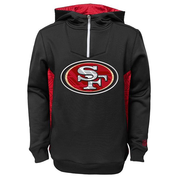 "San Francisco 49ers NFL ""Power Logo"" 1/4 Zip Pullover Performance Hoodie Youth"