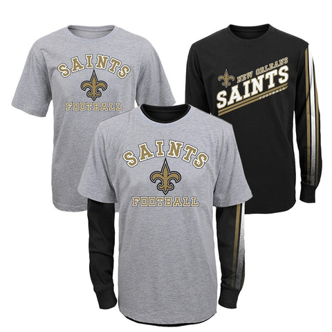 "New Orleans Saints NFL Youth Grey/Black ""Classic Fade"" 2-in-1 LS/SS Shirt Set"