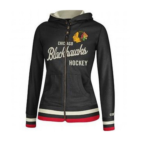 Chicago Blackhawks CCM Full Zip Vintage Team Script Black Hoodie Fleee Women's