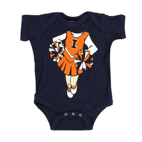 "Illinois Fighting Illini NCAA Newborn Navy Blue ""Dream Cheerleader"" Creeper"