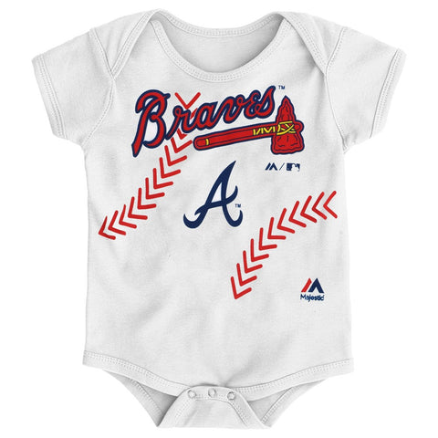 "Atlanta Braves MLB Majestic Infant ""Stitches"" Baseball Creeper"