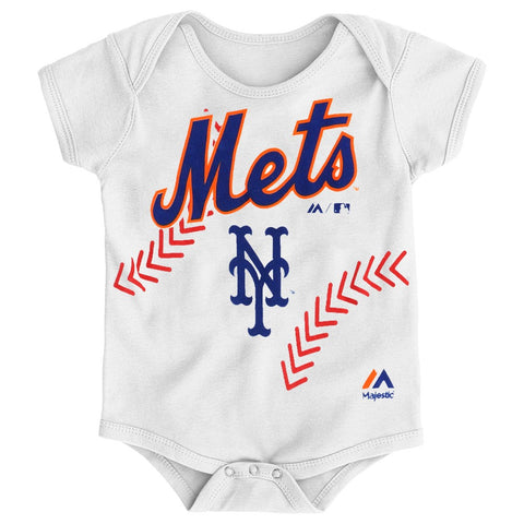 "New York Mets MLB Majestic Infant ""Stitches"" Baseball Creeper"