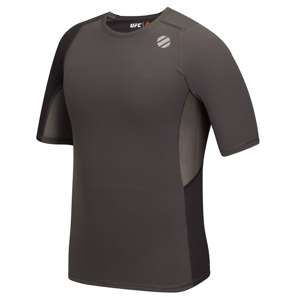 Reebok UFC Men's Charcoal Training Short Sleeve Compression Rash Guard AP6796