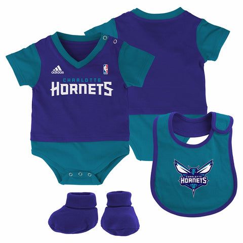 "Charlotte Hornets NBA Adidas Infant Purple ""Lil Jersey"" Creeper, Bib &Bootie Set"