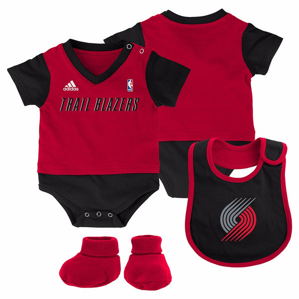 "Portland Trailblazers NBA Adidas Infant Red ""Lil Jersey"" Creeper, Bib&Bootie Set"